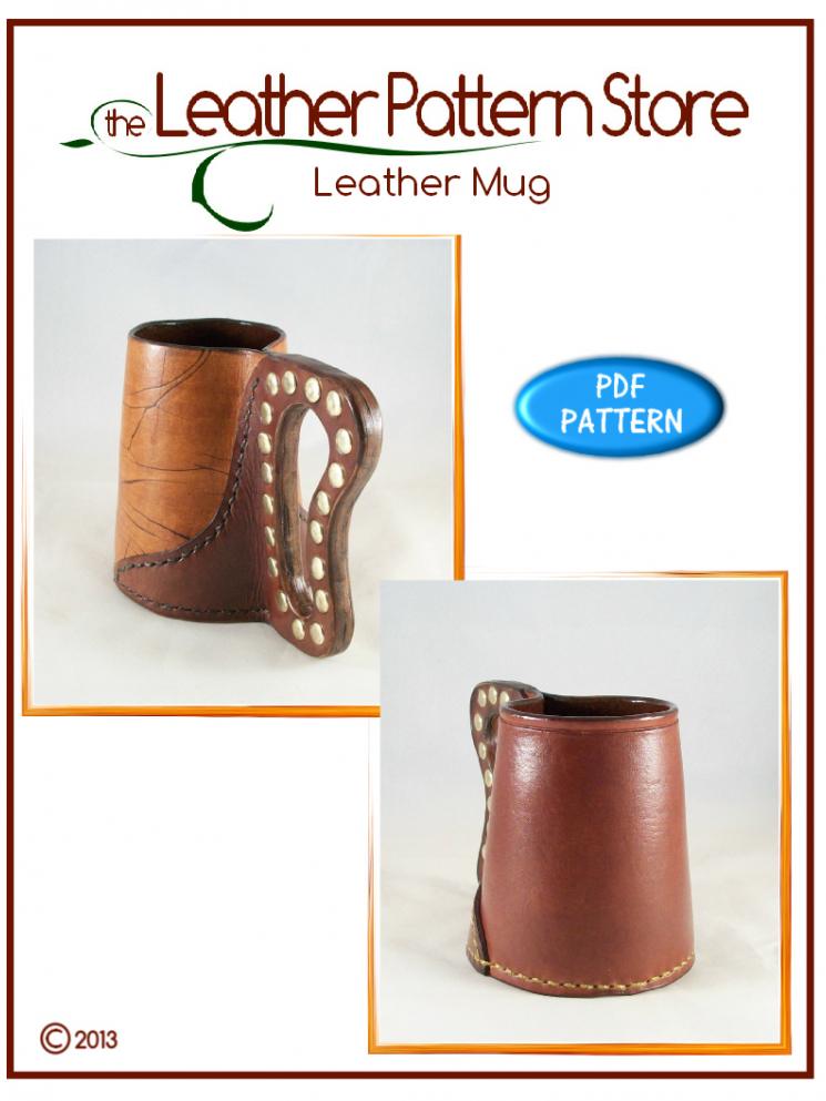 Leather Mug - digital leather pattern