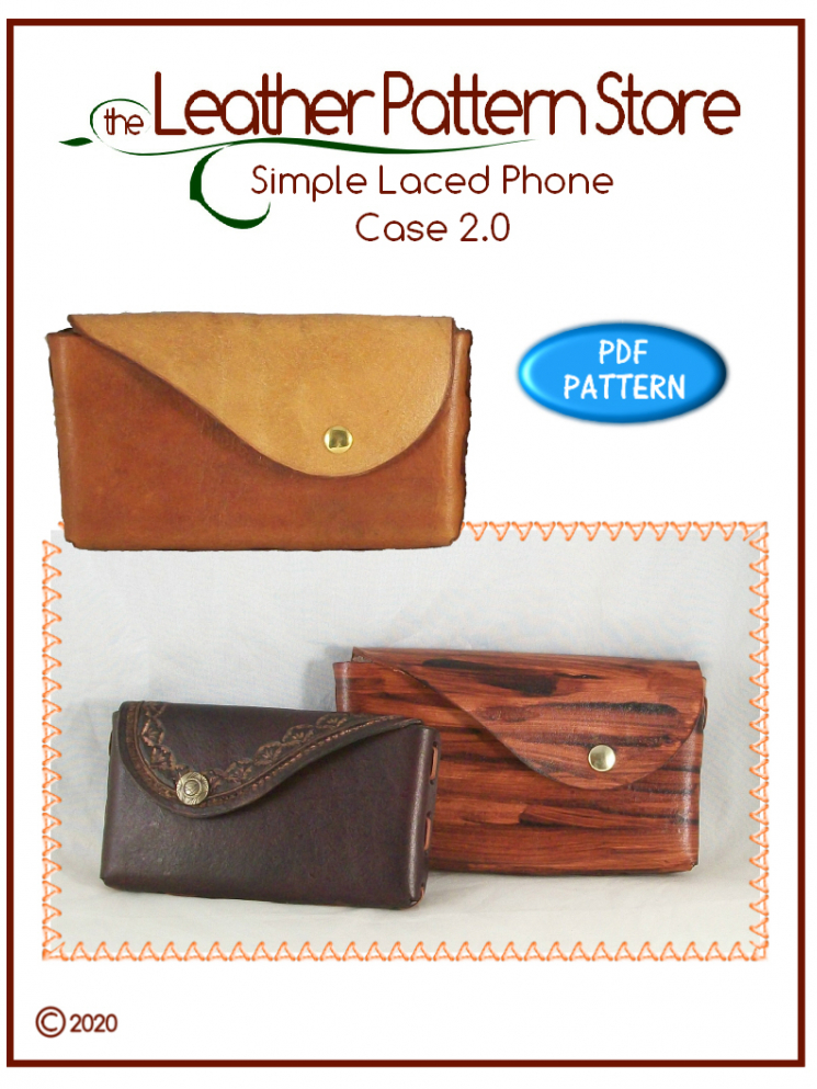 Simple Laced Phone Case 2.0 - pattern for leathercraft