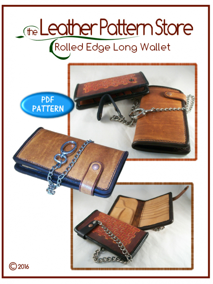 Rolled Edge Long Wallet - leather pattern