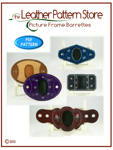 Picture Frame Barrette - leather pattern