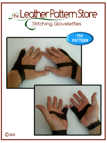 Stitching Glovelettes - digital leather pattern
