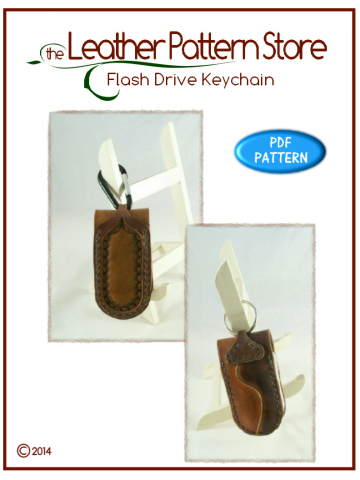 Flash Drive Keychain - digital leather pattern