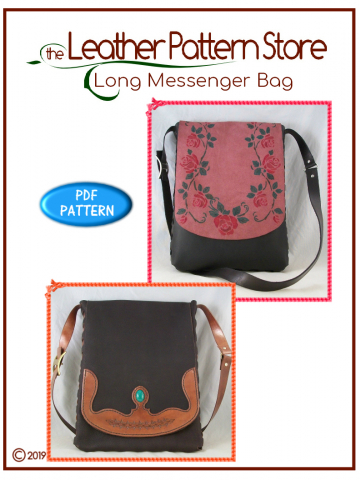 Long Messenger Bag - weaver pattern for leather