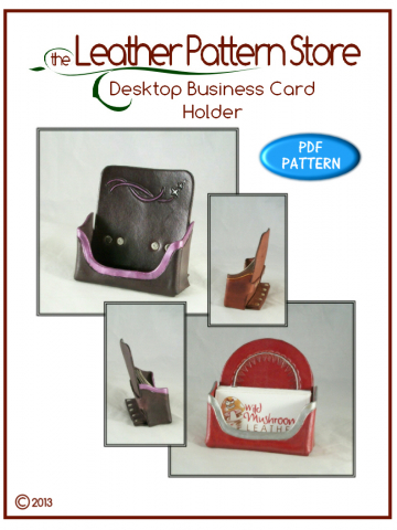 Desktop Business Card Holder - leather pattern