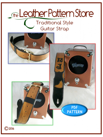 Traditional style Guitar Strap - leather pattern