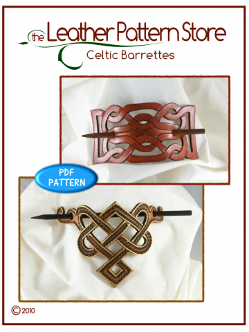 Celtic Stick Barrettes - digital leather pattern