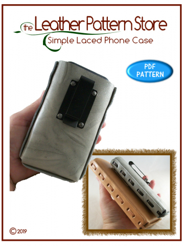Simple Laced Phone Case - leathercraft pattern